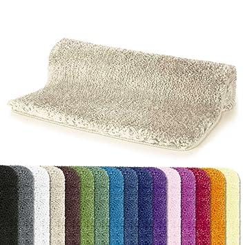 Spirella Badteppich Badematte Duschvorleger Mikrofaser Hochflor Flauschig Rutschhemmend Geeignet Fur Fussbodenheizung 70x120 Cm Beige Sand