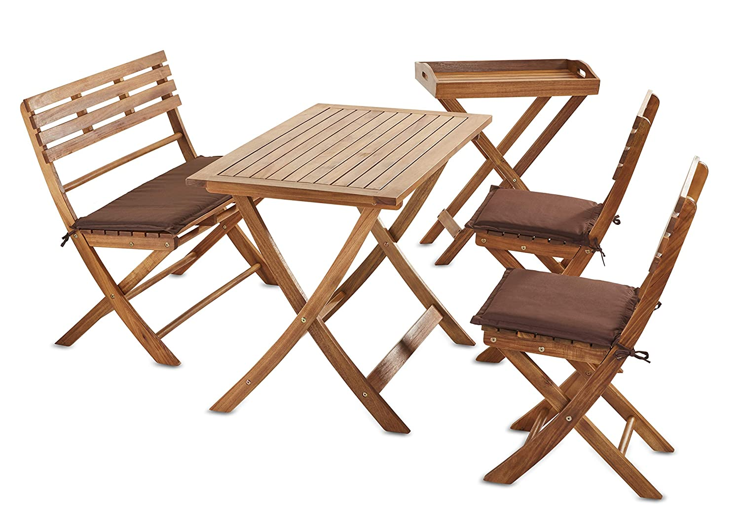 Sunset Garden SG115 Bravo Folding Patio Dining 5-Piece Real Wood, Natural