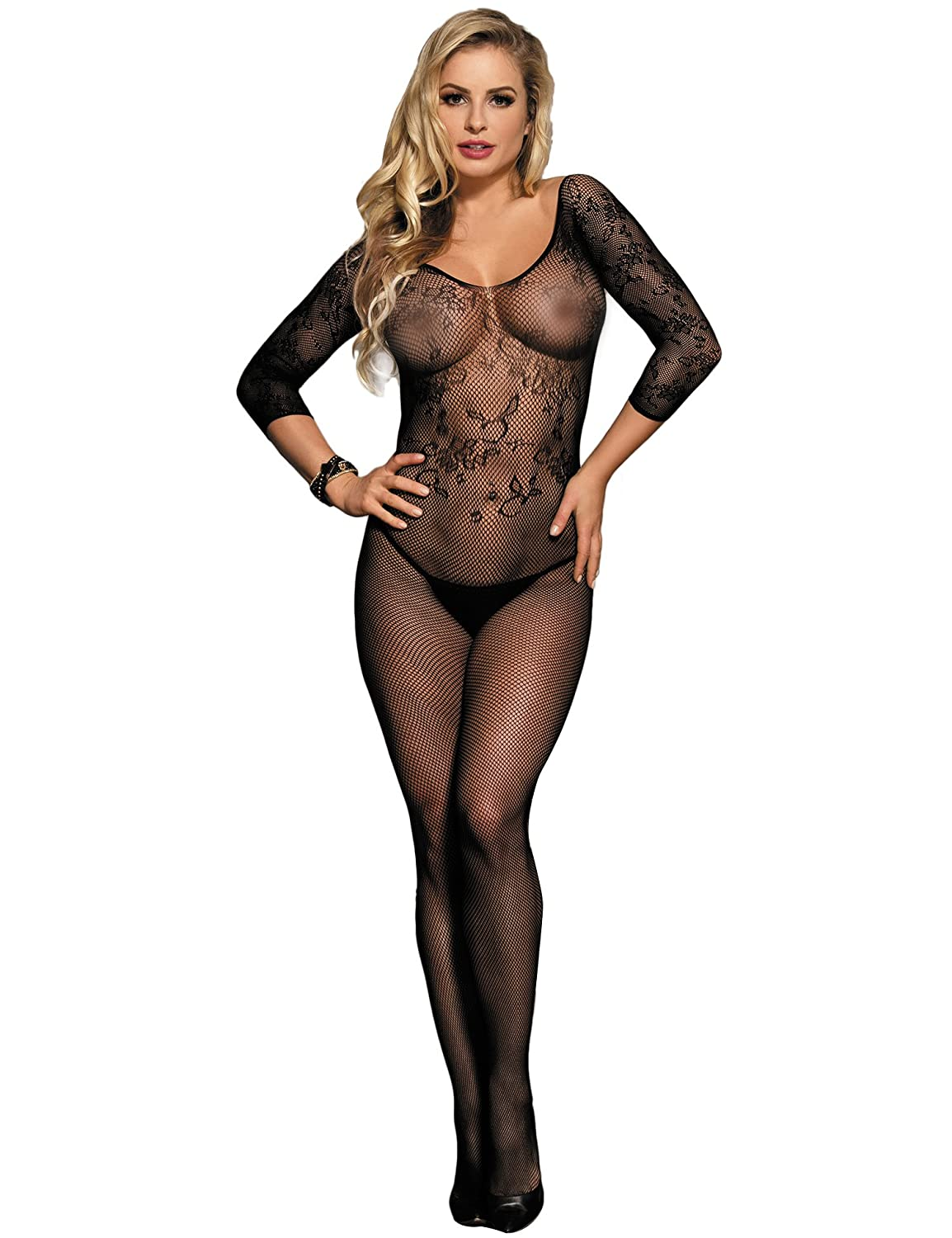 87b466c990f Amazon.com  ohyeah Sexy Lingerie Fishnet Bodysuit Crotchless Tights Sexy  Nightwear Bodystocking for Women  Clothing