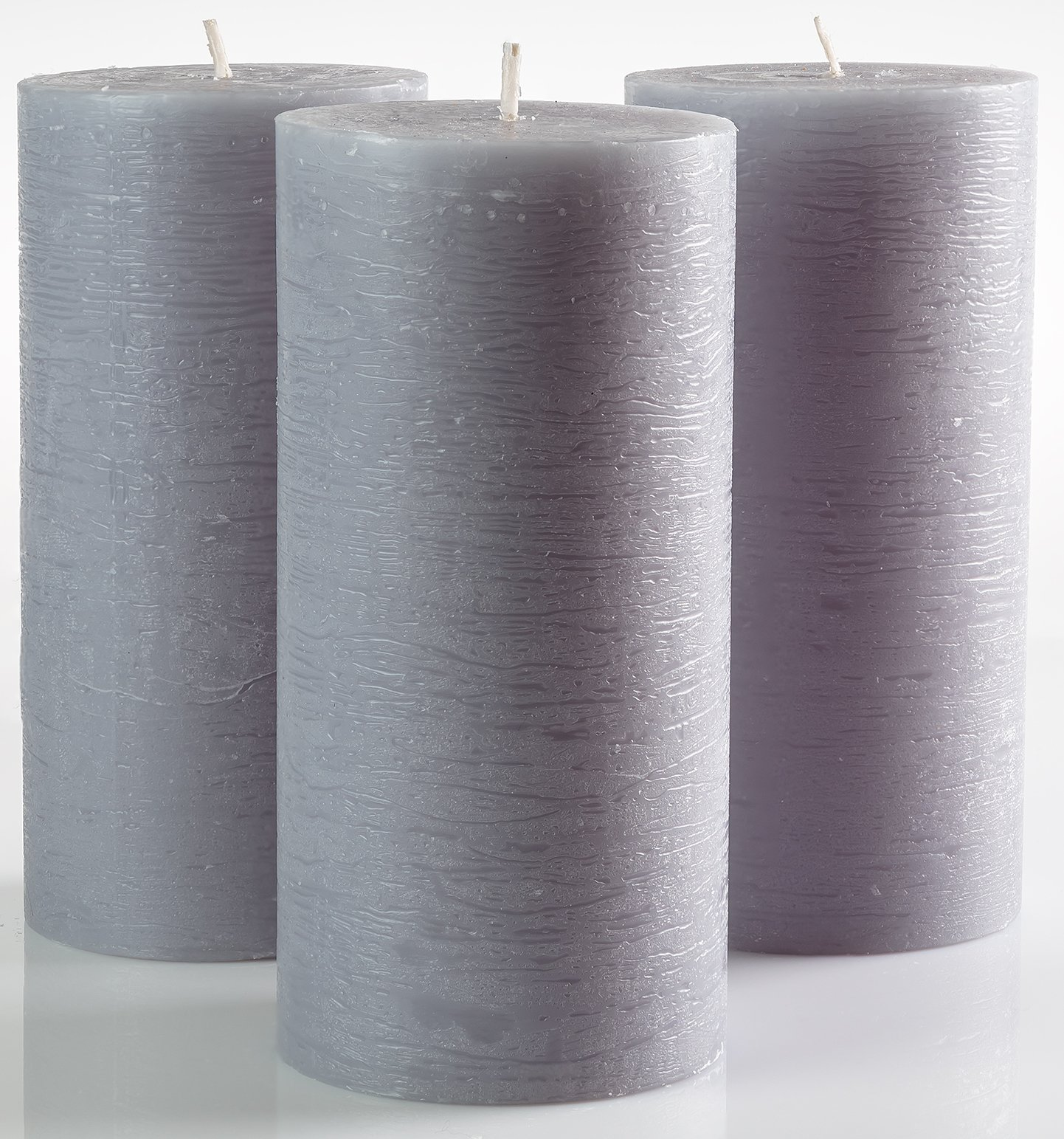 Set of 3 Grey Pillar Candles 7,5 x 15 cm Gray Unscented Dripless for Weddings Home Decoration Relaxation Spa Church by Melt Candle Company