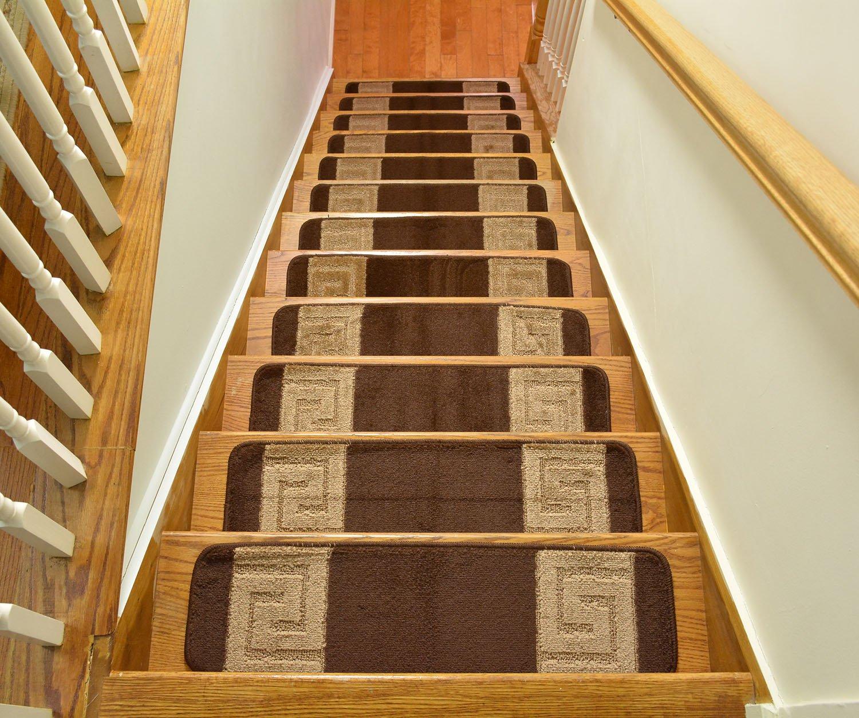 Millenium Stair Tread Treads Greek Key Design Indoor Skid Slip Resistant Carpet Stair Tread Treads Greek Key Design Machine Washable 8 ½ inch x 30 inch Set of 13 Meander Brown