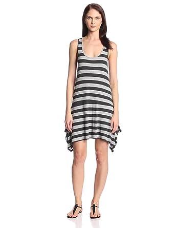 Heather Women's Asymmetric Hem Tank Dress, Heather Black/Light Heather Grey, Small