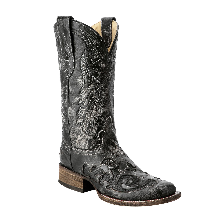 Corral Women's Vintage Exotic Python Western Black Cowboy Boots B01IFL4ZXI 5.5 B(M) US Black