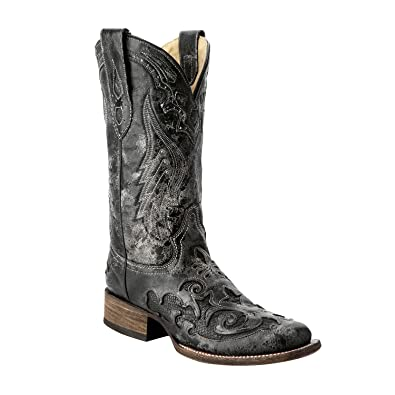 the best attitude drop shipping vivid and great in style Corral Women's Vintage Exotic Python Western Black Cowboy Boots