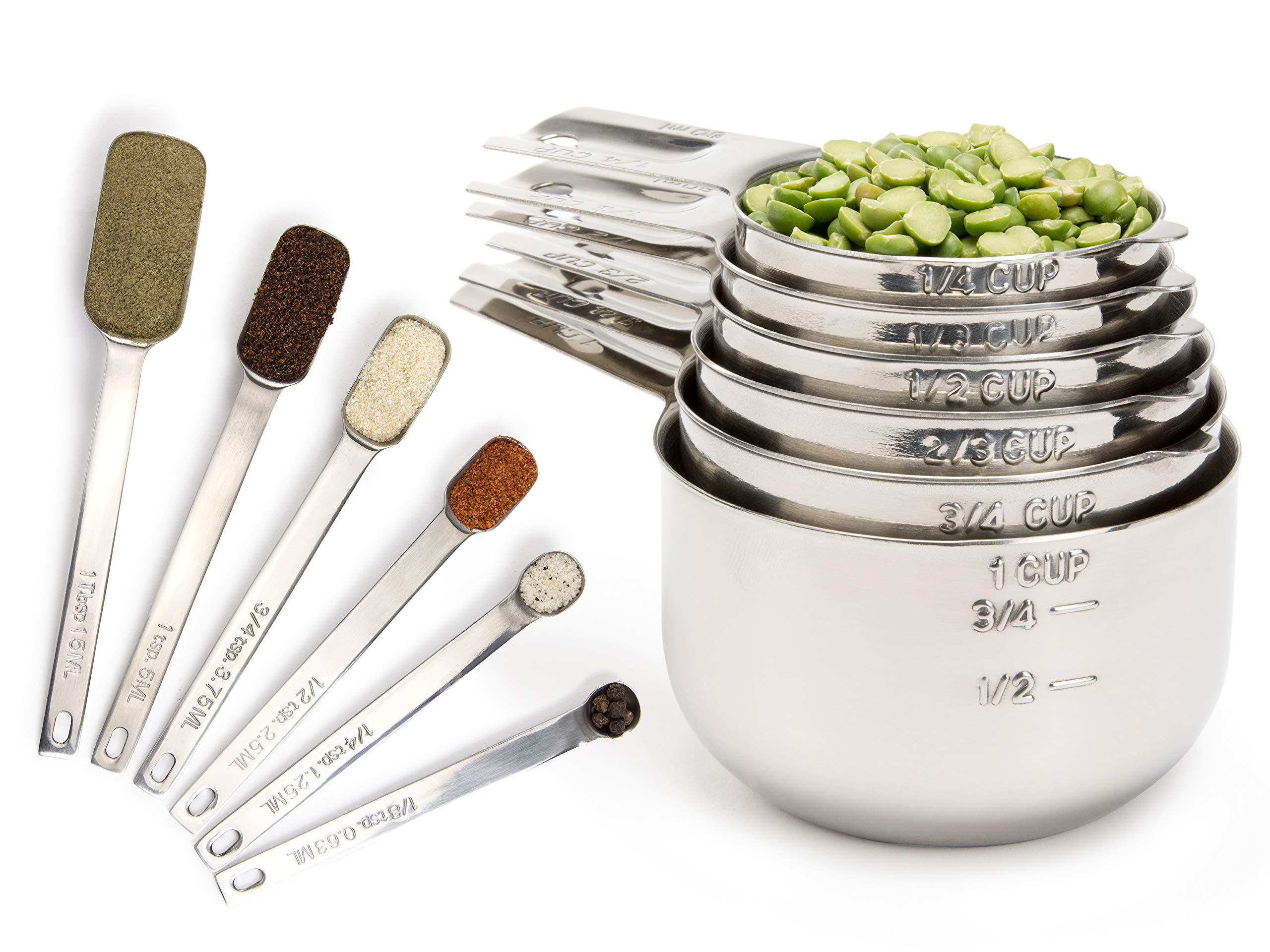 Simply Gourmet Measuring Cups and Measuring Spoons Set Stainless Steel Measuring Cups and Spoons Set of 12. Liquid Measuring Cup or Dry Measuring Cup Set. Stainless Measuring Cups, Nesting Cups by Simply Gourmet