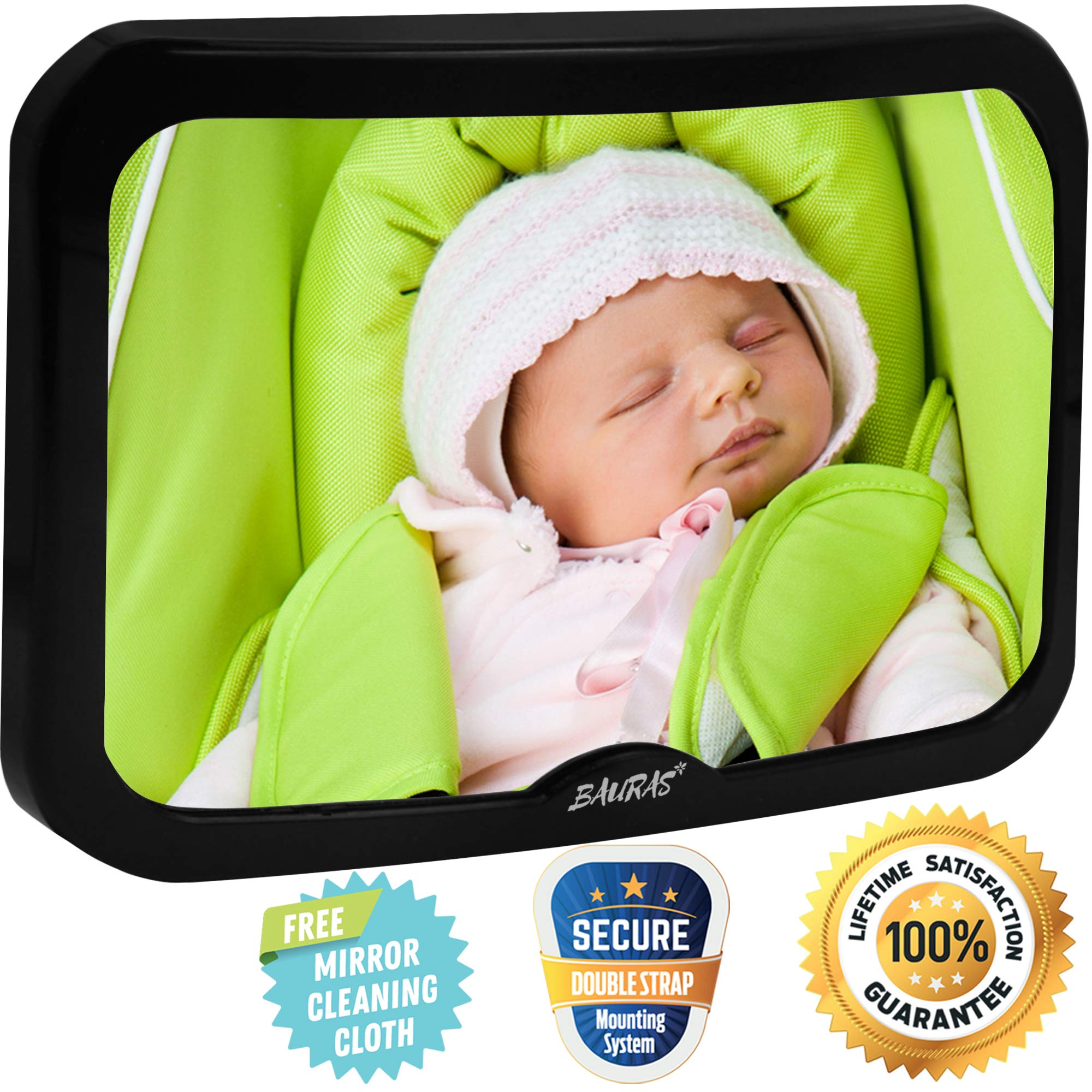 Baby Mirror for Car - Largest Backseat Mirror for Rear Facing Infant - Most Stable Shatterproof Newborn Accessories for Back Seat - Wide Crystal Clear View - Premium Quality - Safe Secure Crash Tested by BAURAS