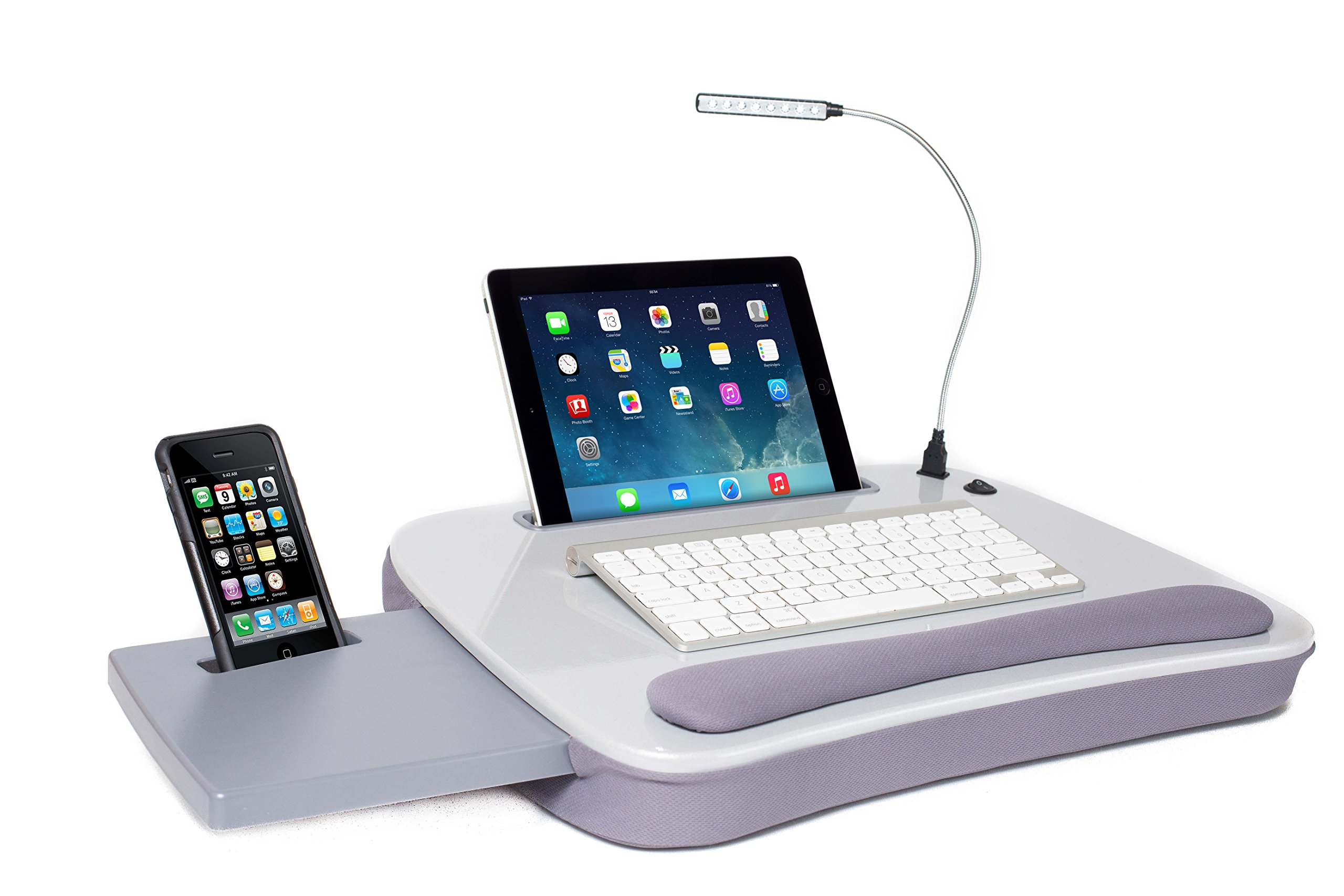 Sofia + Sam Multi Tasking Memory Foam Lap Desk with USB Light (Silver)   Supports Laptops Up To 15 Inches