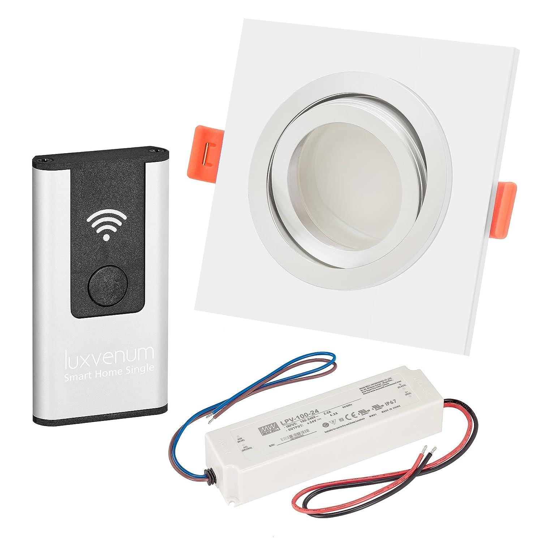 LUXVENUM   5er-Set Alexa Echo Smart Home kompatible LED-Einbaustrahler 230V extra flach 25mm DIMMBAR 6W statt 70W Lista Metalico Aluminium weiß eckig warmweiß 3000K