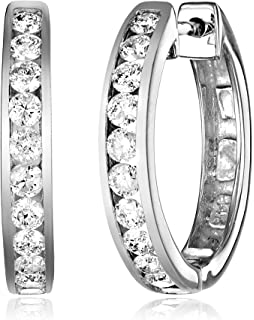 Amazon.com: 14k White Gold Channel-Set Diamond Hoop Earrings (1 ...