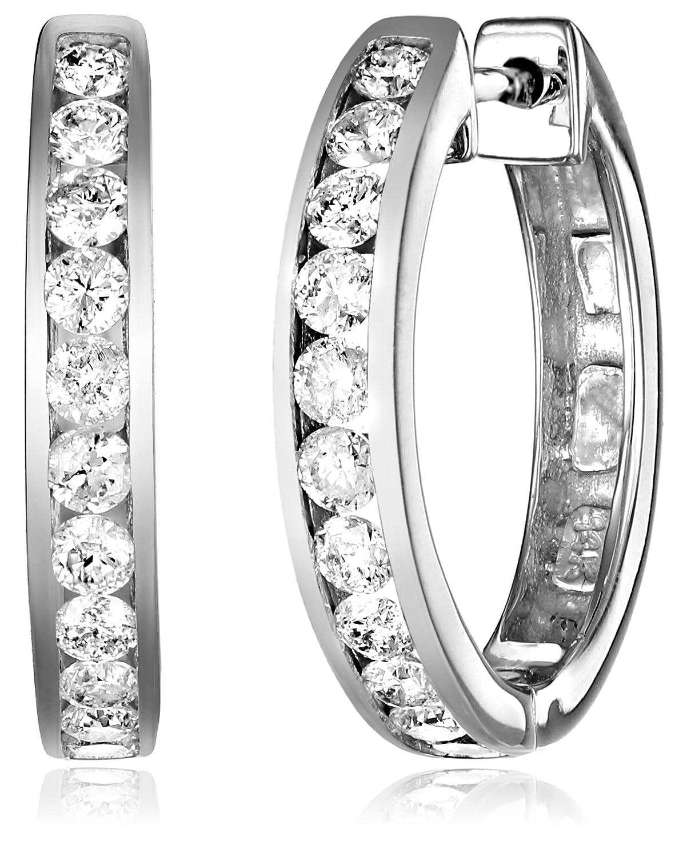 14k Gold Channel-Set Diamond Hoop Earrings (3/4 cttw, H-I Color ...