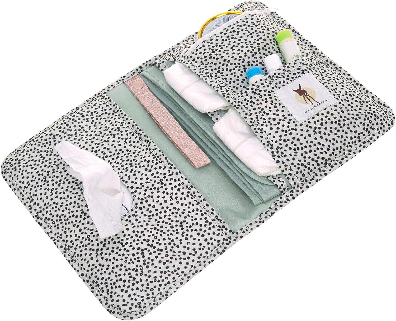 LÄSSIG, Bolsa de pañales para bebé  con cambiador para viajar,  Punteado de blanco