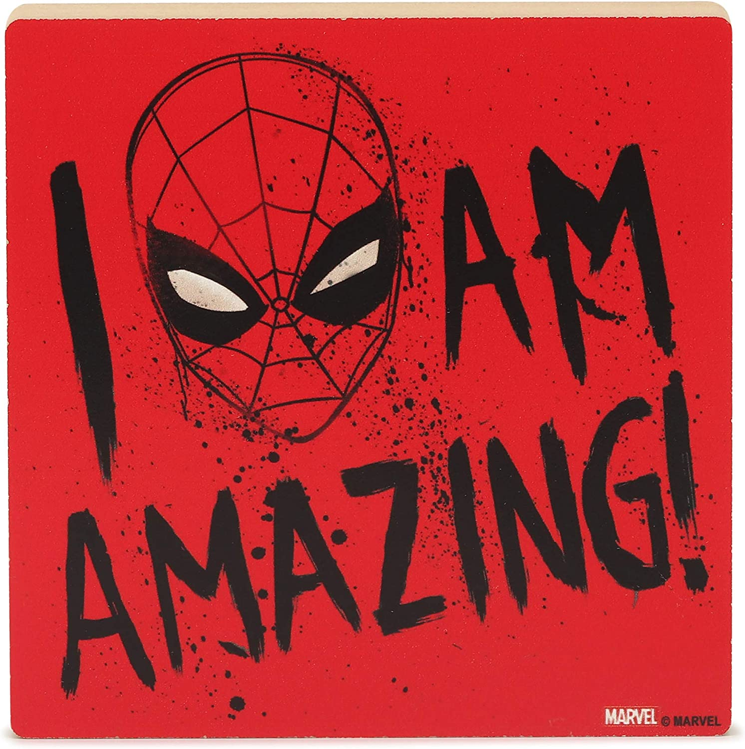 Open Road Brands Marvel Spider-Man I Am Amazing - Chunky Wood Block Decor for Movie Room, Man Cave, or Kids' Room