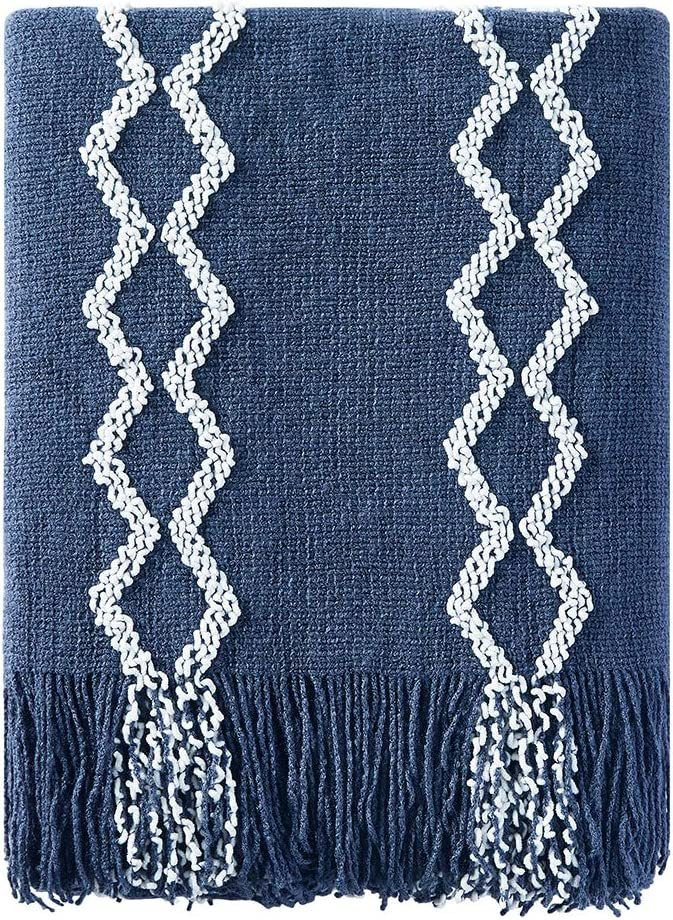 BOURINA Fluffy Beauty products Chenille Knitted Throw Lightweight Luxury Blanket Fringe