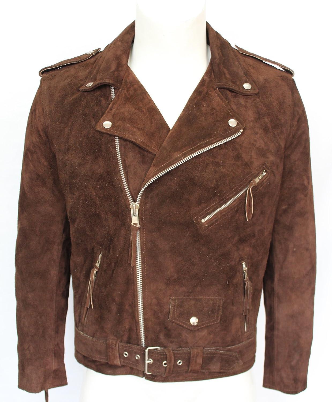 BRANDO SLIM FIT Men's BROWN Suede Designer Punk Rock Real Leather Biker Jacket