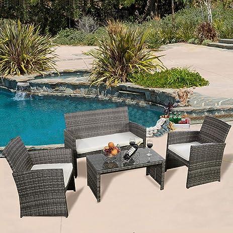 4 Pc Rattan Patio Furniture Set Garden Lawn Sofa Cushioned Seat Mix Gray  Wicker