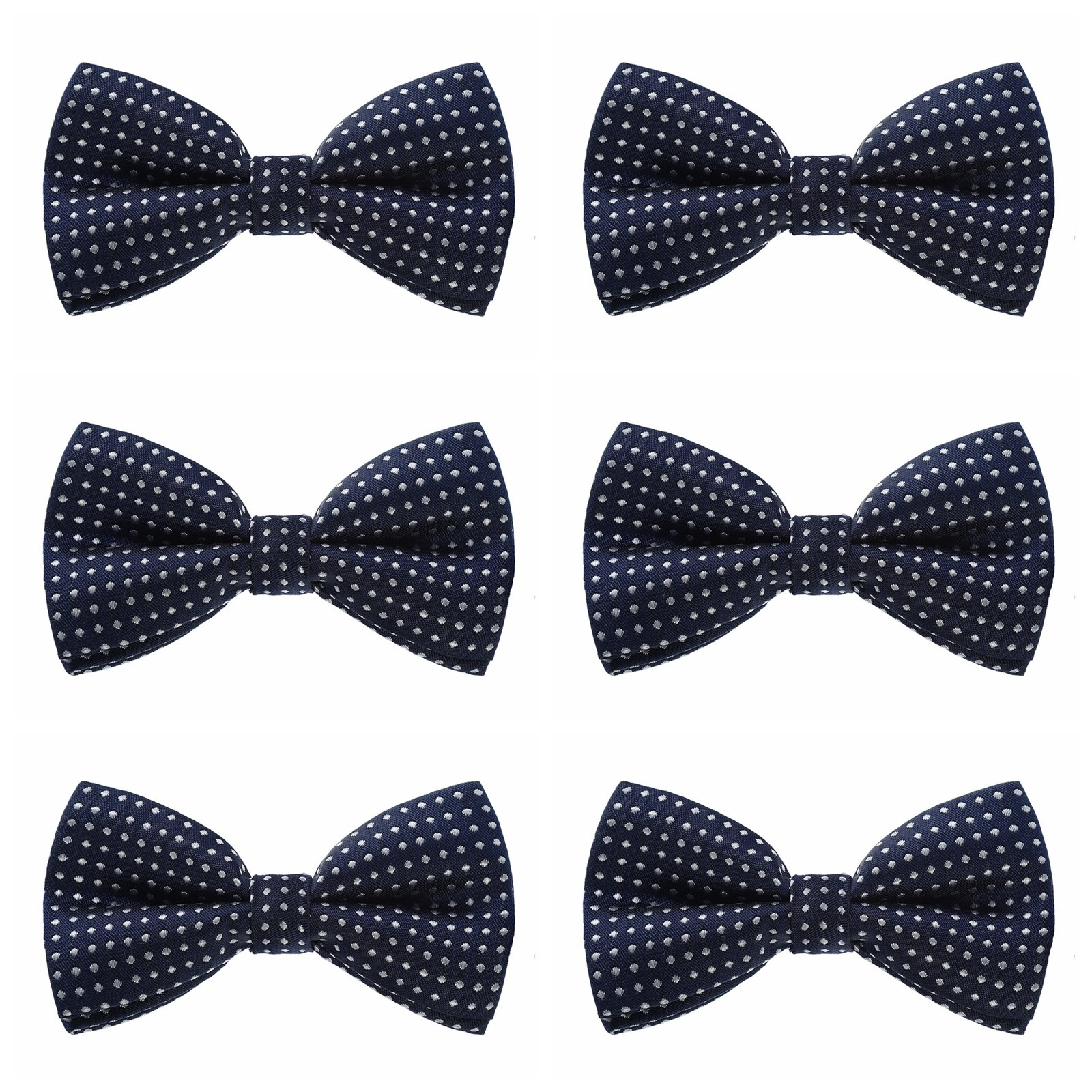 Boys Polka Dots Bow Ties - 6 Pack of Double Layer Adjustable Pre Tied Bowties (Navy Blue)