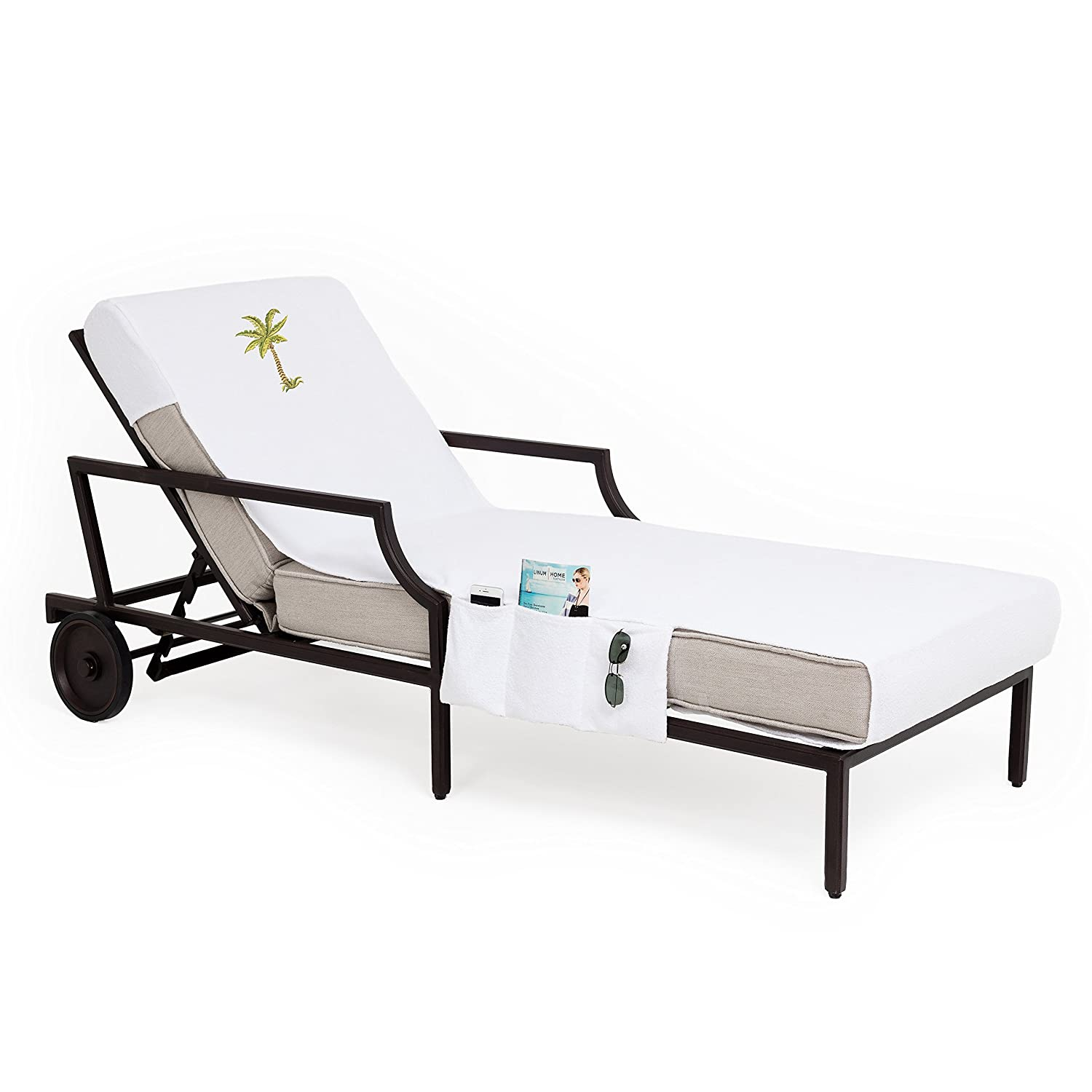 Linum Home Textiles CL00-SWP-PLM Palm Tree Chaise Lounge Cover White