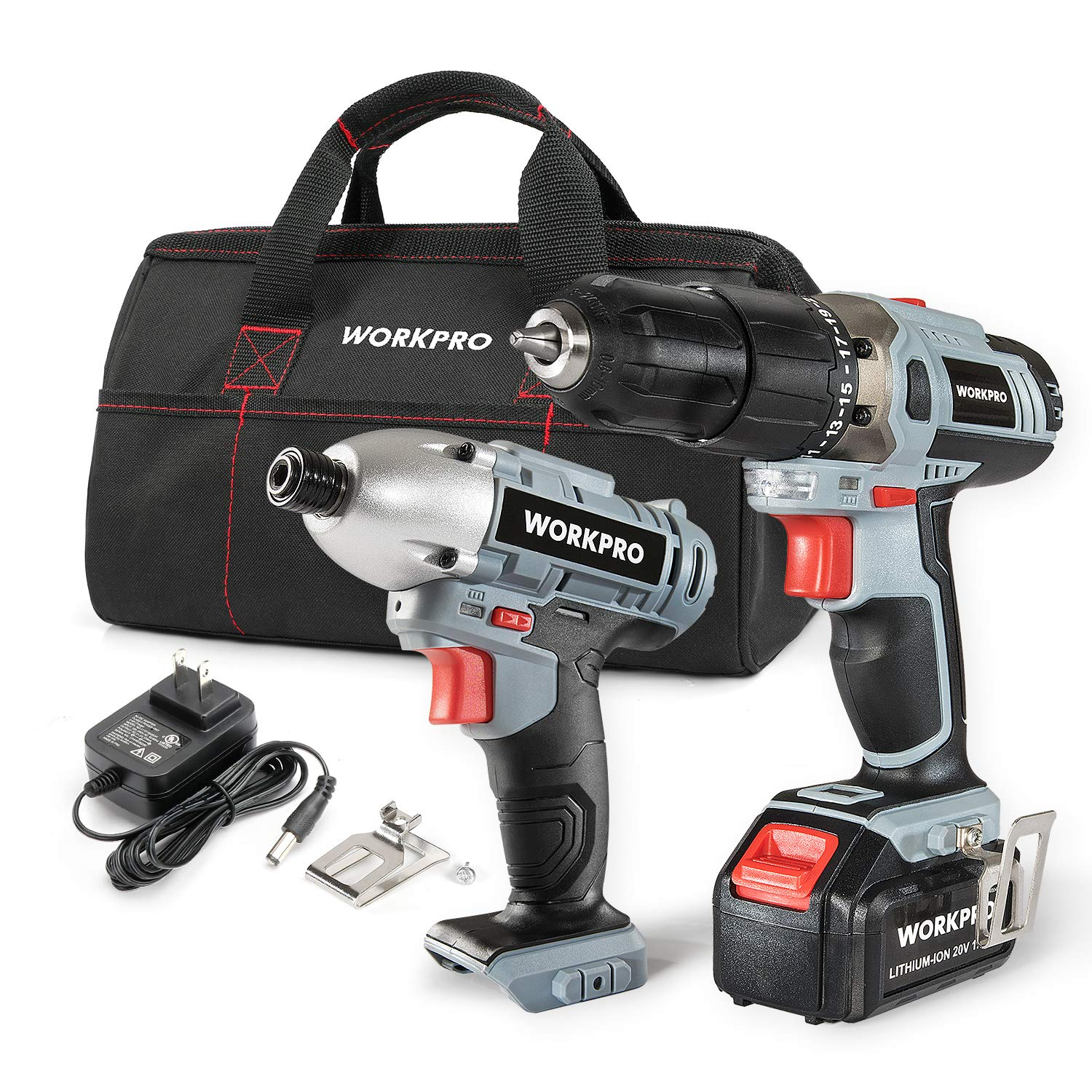 WORKPRO Cordless Drill Driver/Impact 20V Lithium Combo Kit(1 5Ah),1  Battery,Charger and Storage Bag Included