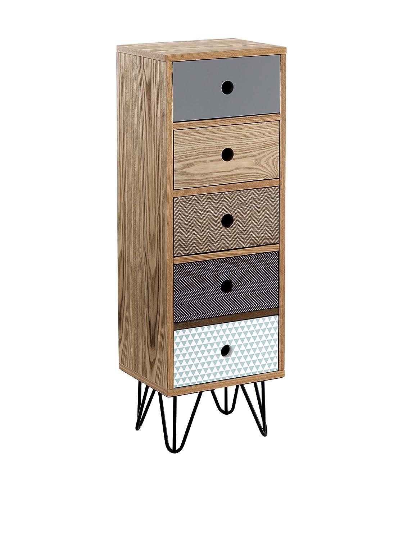 Com/ò Alto cassettiera 5 Cassetti Odense Legno Multicolore Wink design 25 x 30 x 90 cm