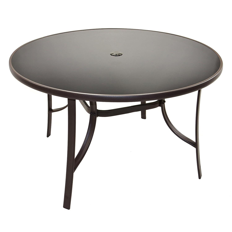 Amazon.de: Gartentisch Glasplatte Mit Schirmloch Bistrotisch Glastisch 120  Cm Runder Tisch