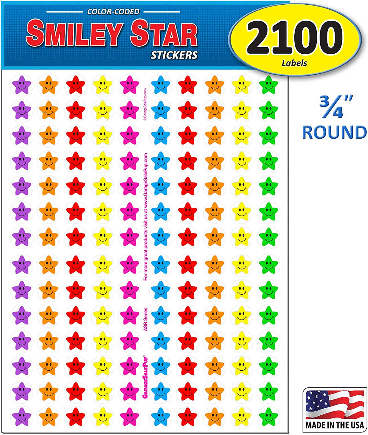Pack of 2100 Happy Face Smiley Star Stickers, 3/4 inch, 7 Bright Neon Colors, Great for Teachers & Classrooms!…