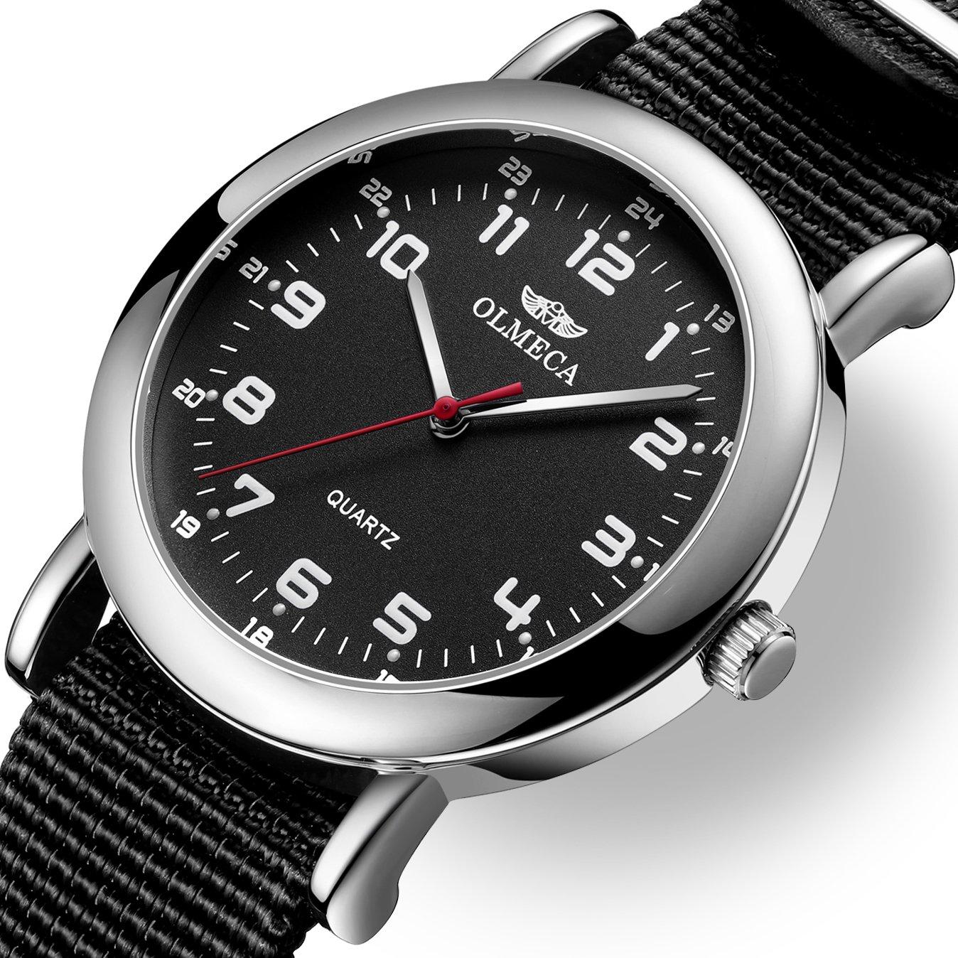 Amazon.com: OLMECA Mens Watches Luxury Wristwatches Fashion Design Dial - Japanese Quartz Movement - Replaceable Multi-Color Striped Nylon Band - Black ...