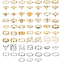 SAILIMUE 66Pcs Ring Set for Women Bohemian Knuckle Rings Vintage Stackable Finger Rings Midi Rings Fashion Opal Hollow…