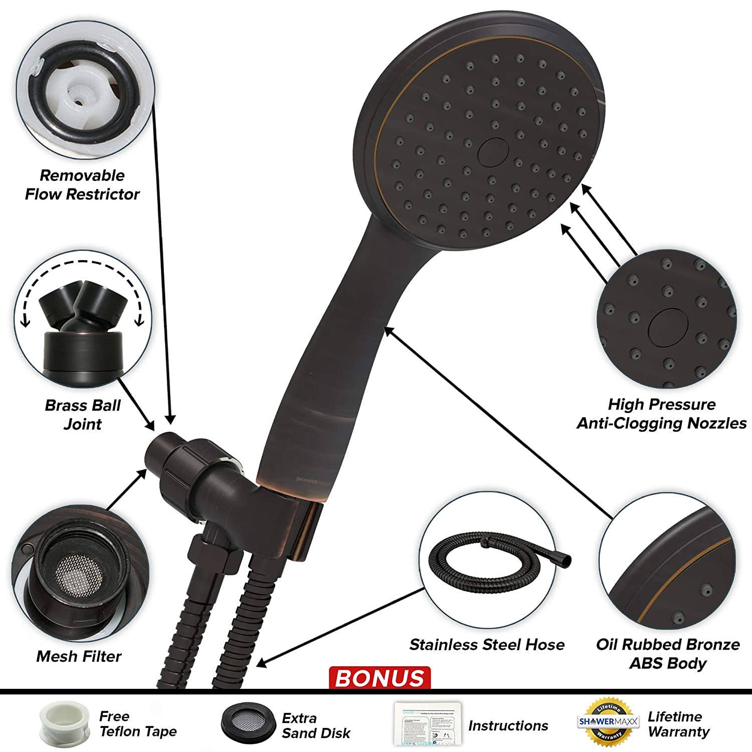 ShowerMaxx Oil Rubbed Bronze Finish Easy-to-Remove Flow Restrictor to MAXX-imize Your Shower 3.3 inch Ultra High Pressure Hand Held Shower Head Long Stainless Steel Hose Choice Series