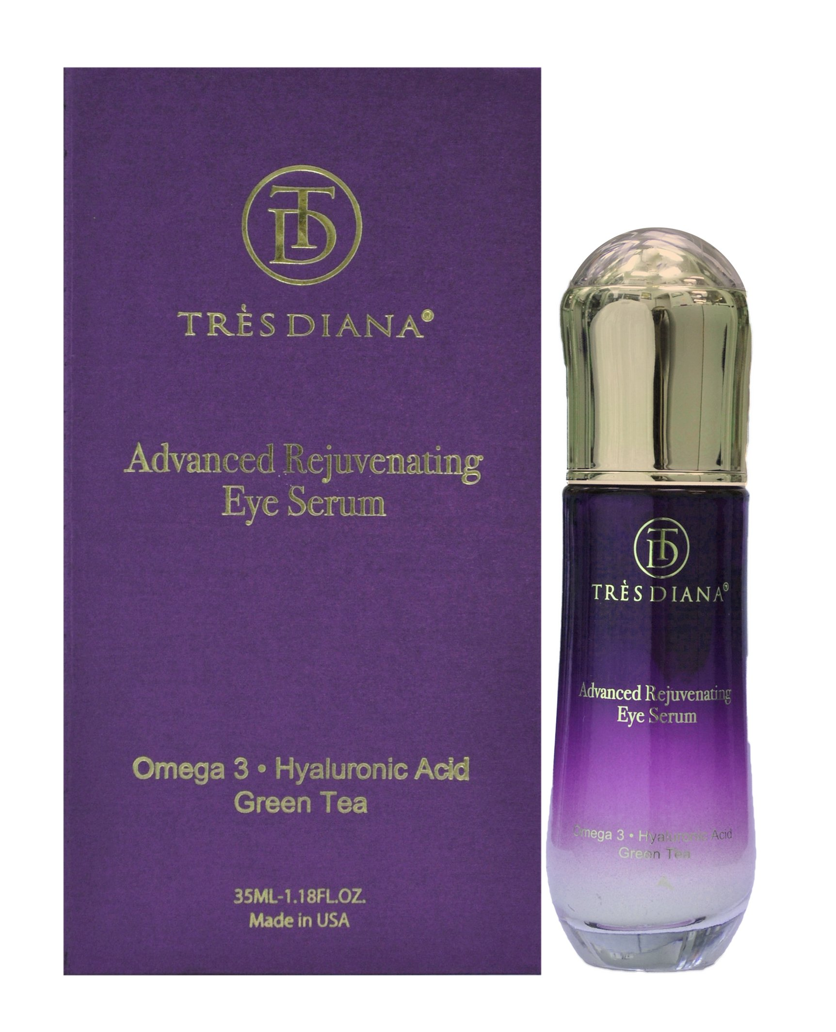 TRÈSDIANA Advanced Rejuvenating Eye Serum to treat Puffiness, Dark Circles, Sagging, Anti-Aging, Wrinkles, Fine Lines, Firming, and Moisturizing for Men and Women. (35 ml 1.18 f. oz) Made in USA!