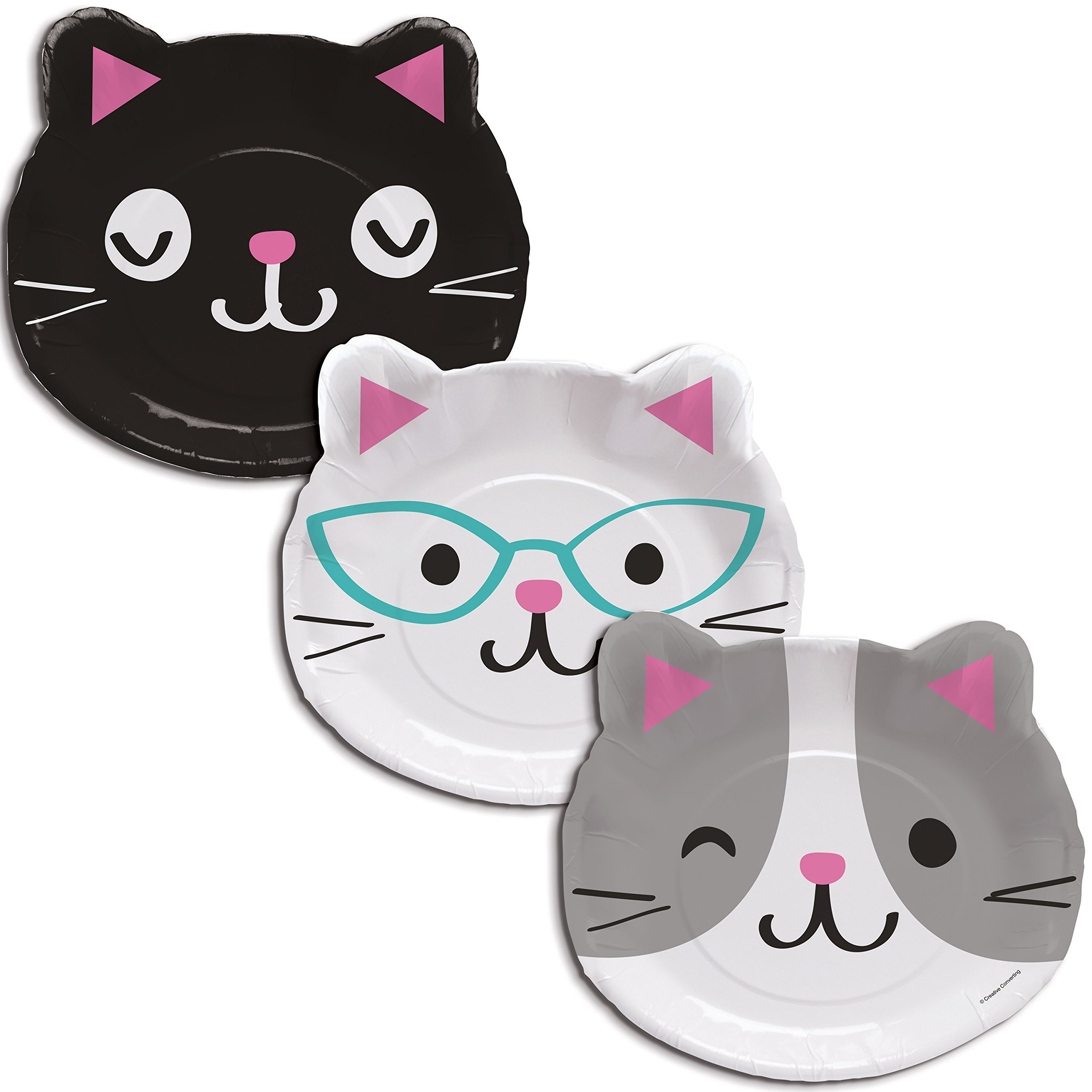 Cat Party Assorted Kitten Shaped Plates, 24 ct by Creative Converting