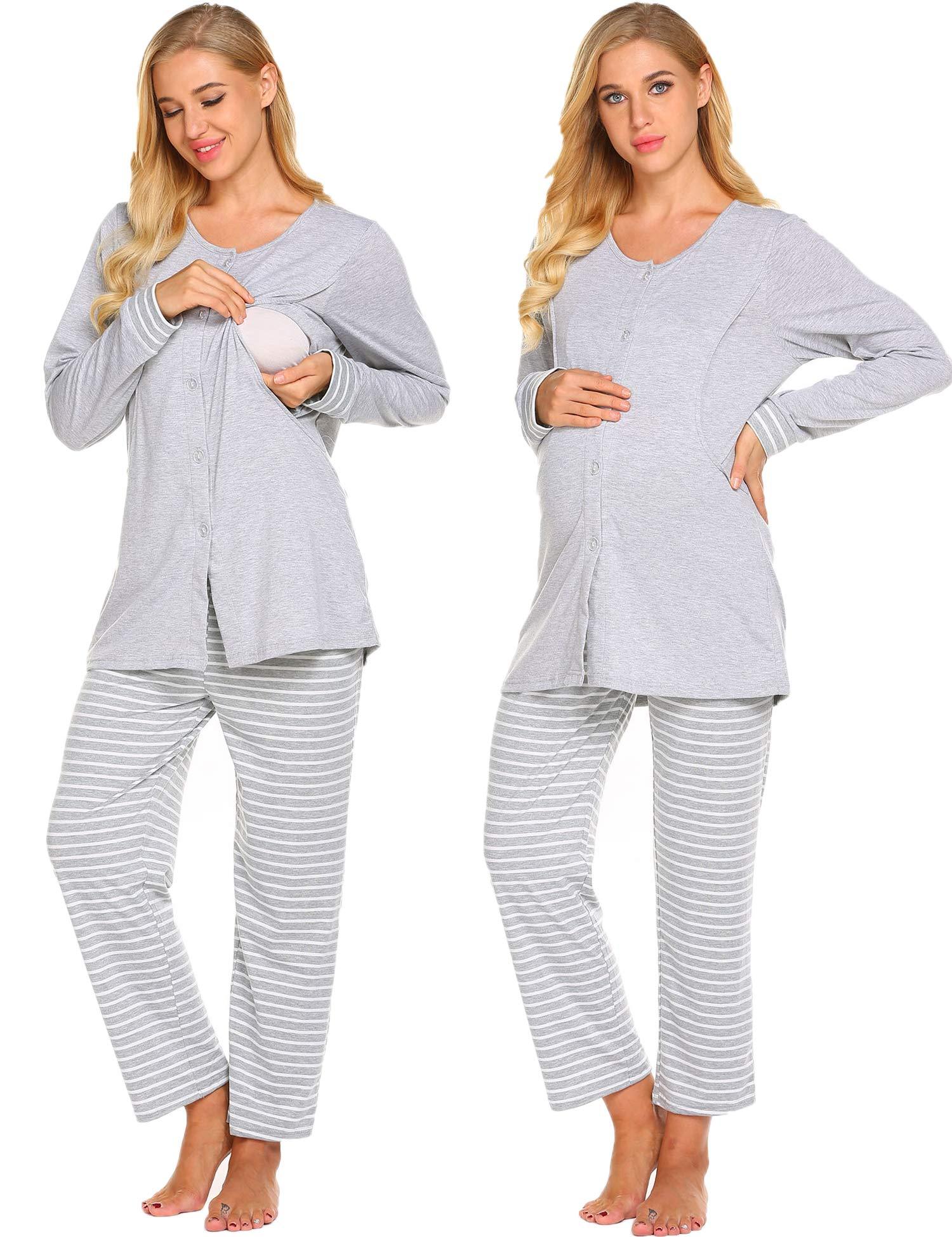 Ekouaer Womens Maternity Nursing Pajamas Set-Soft Breastfeeding Pregnancy Sleepwear Pjs Set,Bgrey,XX-Large