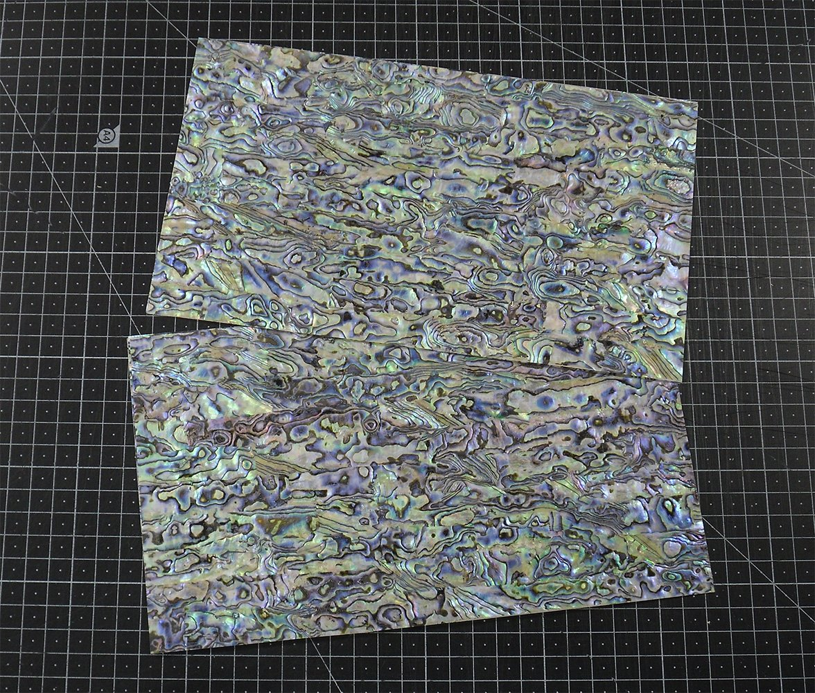 PAUA BLUE (5 pcs) abalone shell inlay veneer 9.5 x 5.5 x 0.006 inch