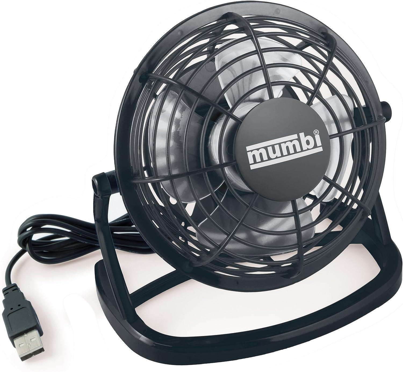 mumbi - mini ventilador USB, ventilador pequeño para escritorio con interruptor de encendido / apagado,negro