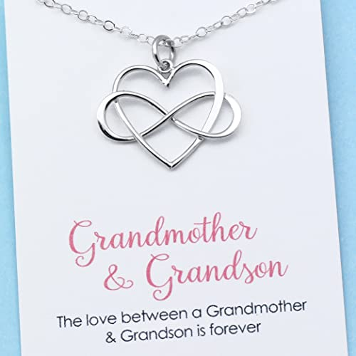 Amazon gift for grandma personalized grandmother grandson gift for grandma personalized grandmother grandson necklace infinity heart pendant sterling silver mozeypictures Image collections