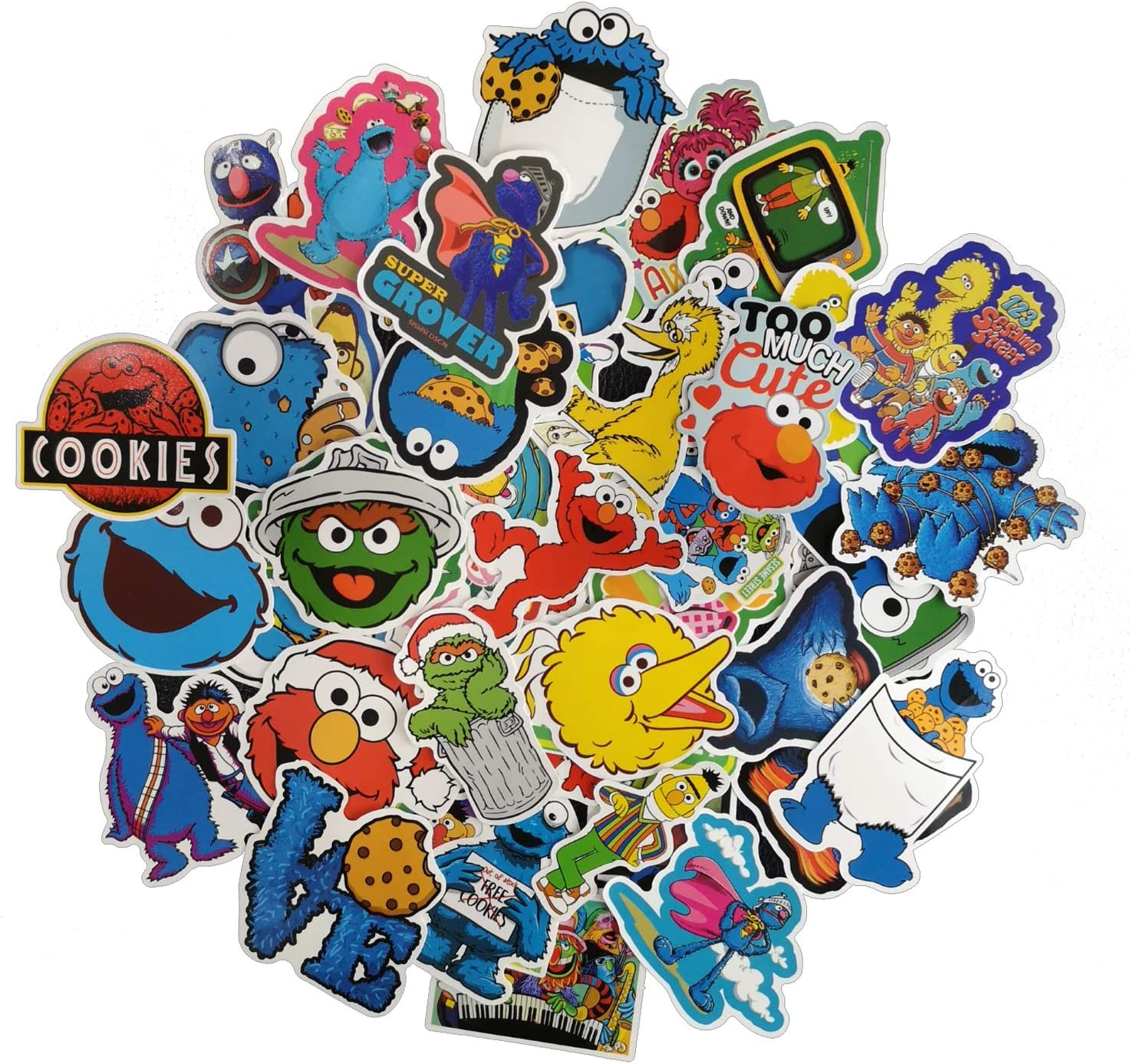 Classic Cartoon TV Show Sesame Street Prints, Cute and Funny Stickers, Size 1.5 to 3.5 Inch with Vinyl Decals - Assortment of Laptops Sticker Decals, UV Protected & Waterproof - 50 pcs