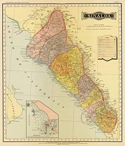 Mexico Map Sinaloa.Amazon Com Historic Map Sinaloa 1886 National Atlas Antique