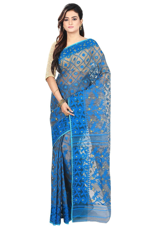 Blue & Black Color Jamdani Cotton Silk Saree With Blouse Piece