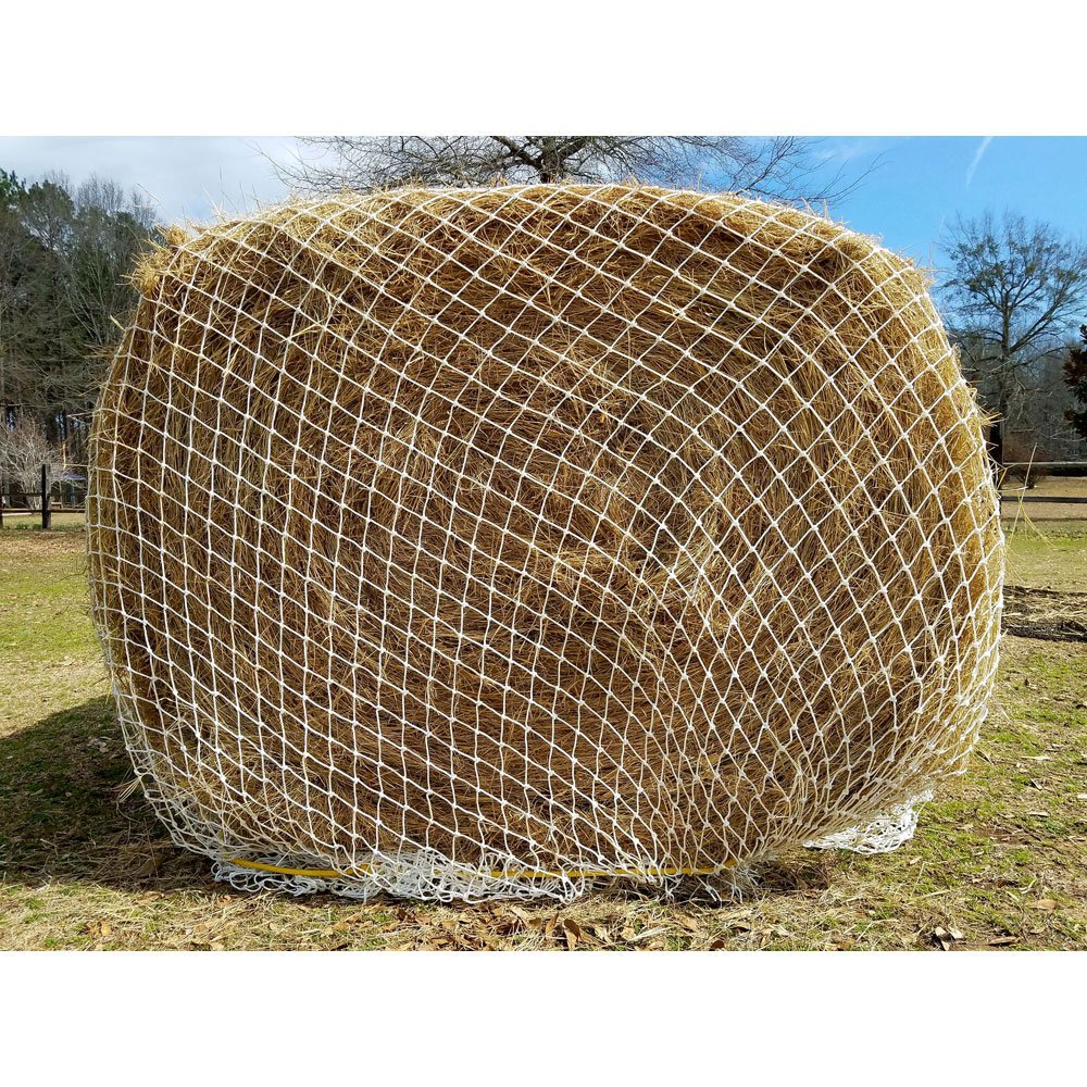 Texas Haynet Heavy Gauge Round Bale Hay Net Slow Feed Nylon Twice as Thick Fits Bales 4x4-6x6 2.25'' Holes Made in America by Texas Haynet