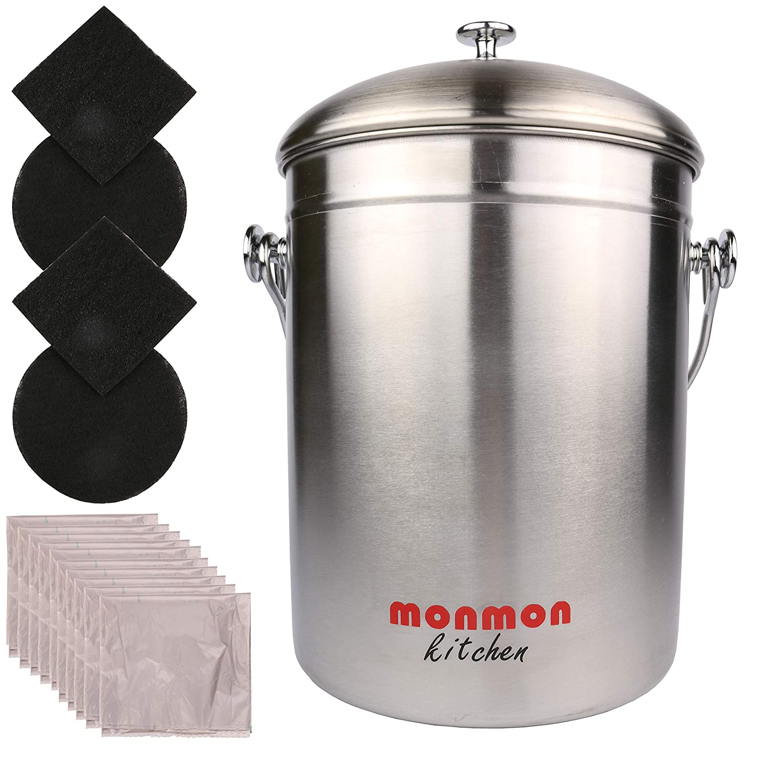 Stainless Steel Compost Bin with Bonus 4 Charcoal Filters and 10 Compost Bags MonMon
