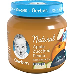 Gerber 2nd Foods Baby Food Jars, Natural Apple Zucchini Peach, 4 Ounce (Pack - 12)