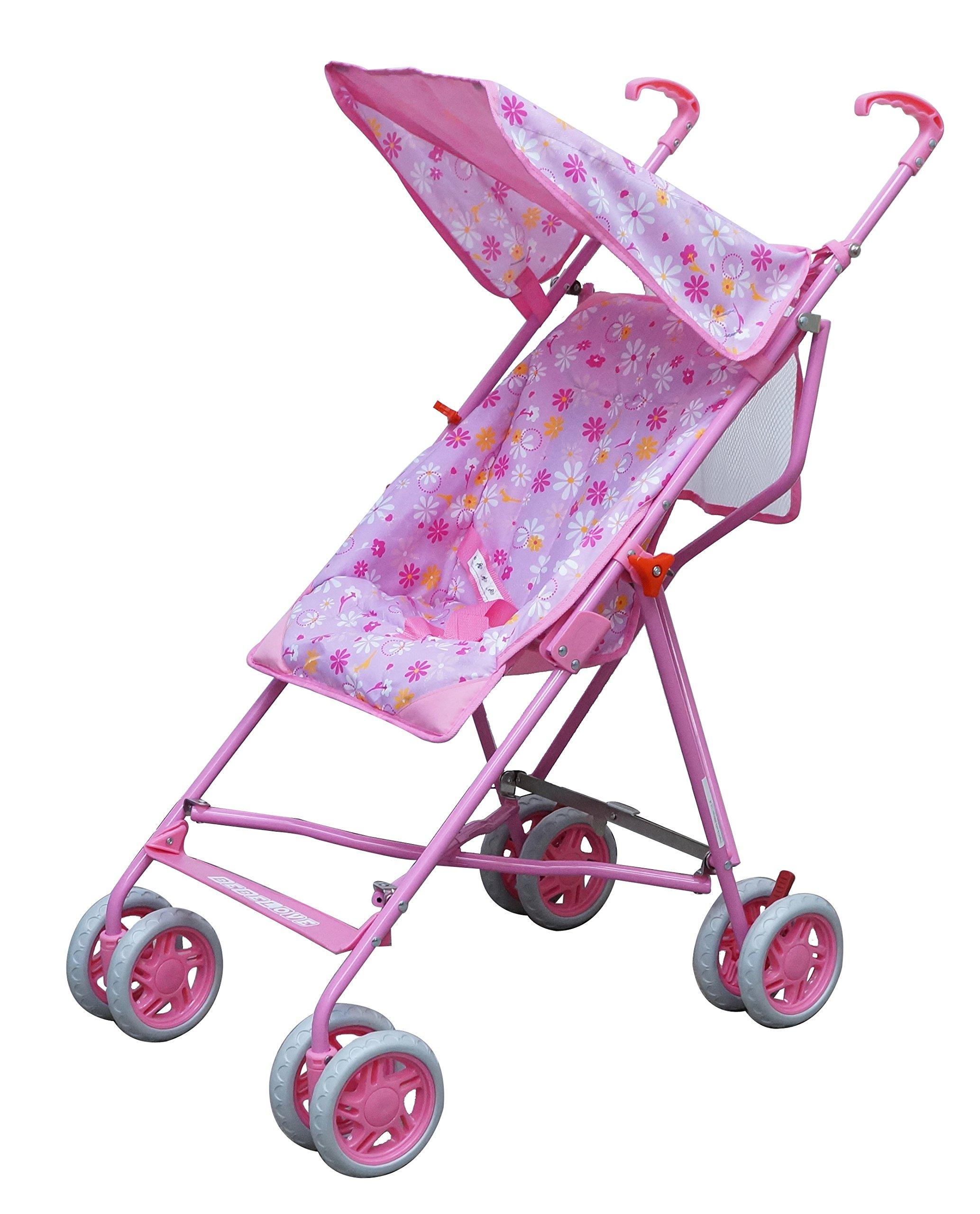 Single Umbrella Stroller with Tilt Back Seat Pink