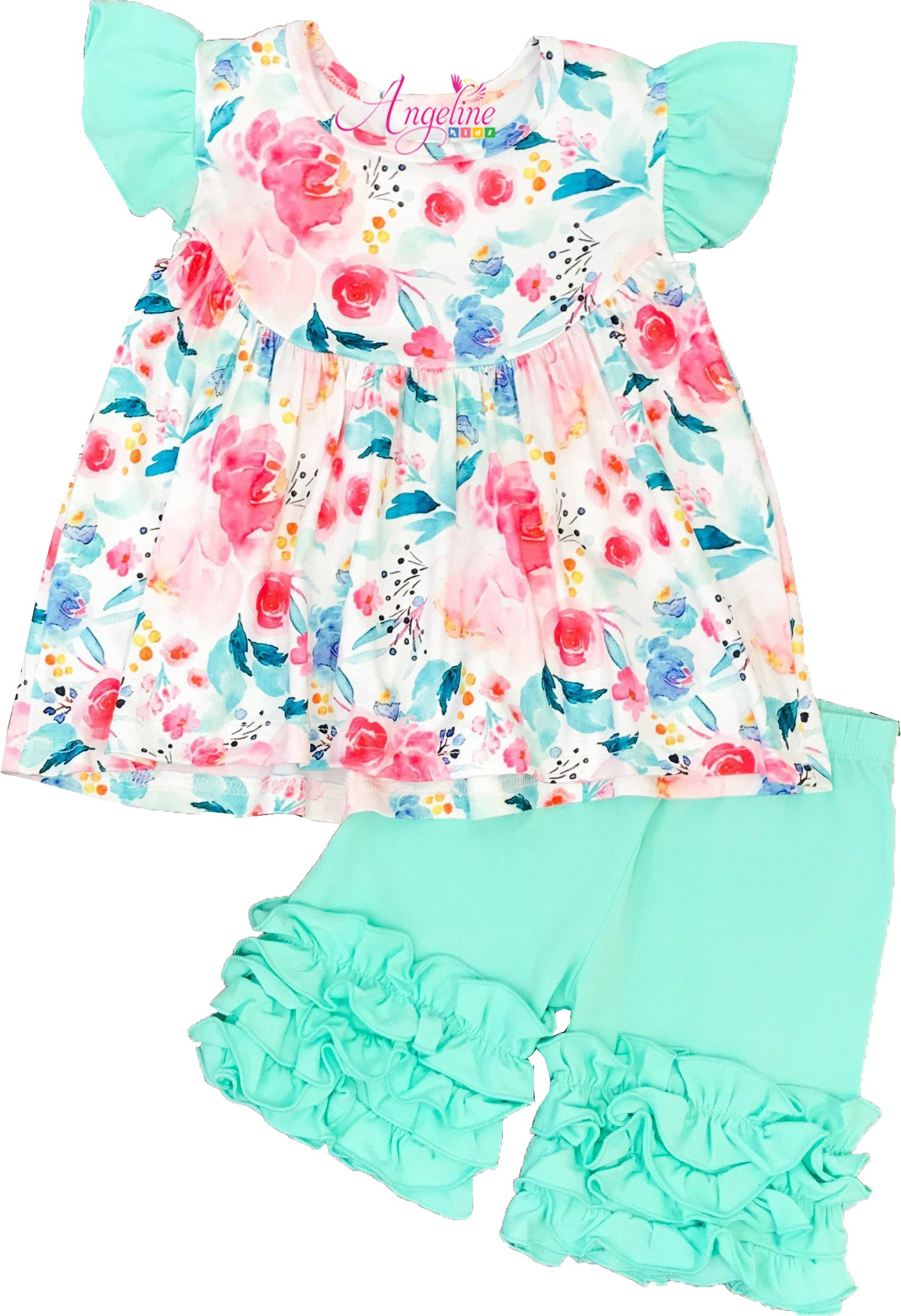 Angeline Baby Toddler Girls Summer Watercolor Floral Ruffles Short Set Mint 6/XXL
