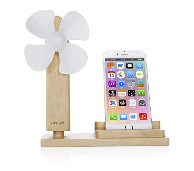 konky - Mini ventilador de mesa madera Soporte de smartphone ...