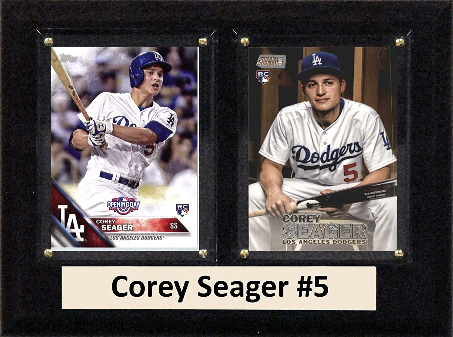 Brown C/&I Collectables MLB Los Angeles Dodgers Corey Seager Two Card Plaque 6 x 8
