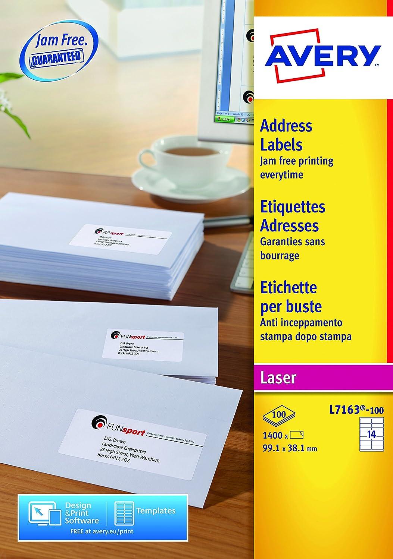 Avery España L7162-100.Caja de 1600 etiquetas blanca adhesivas 99.1 ...