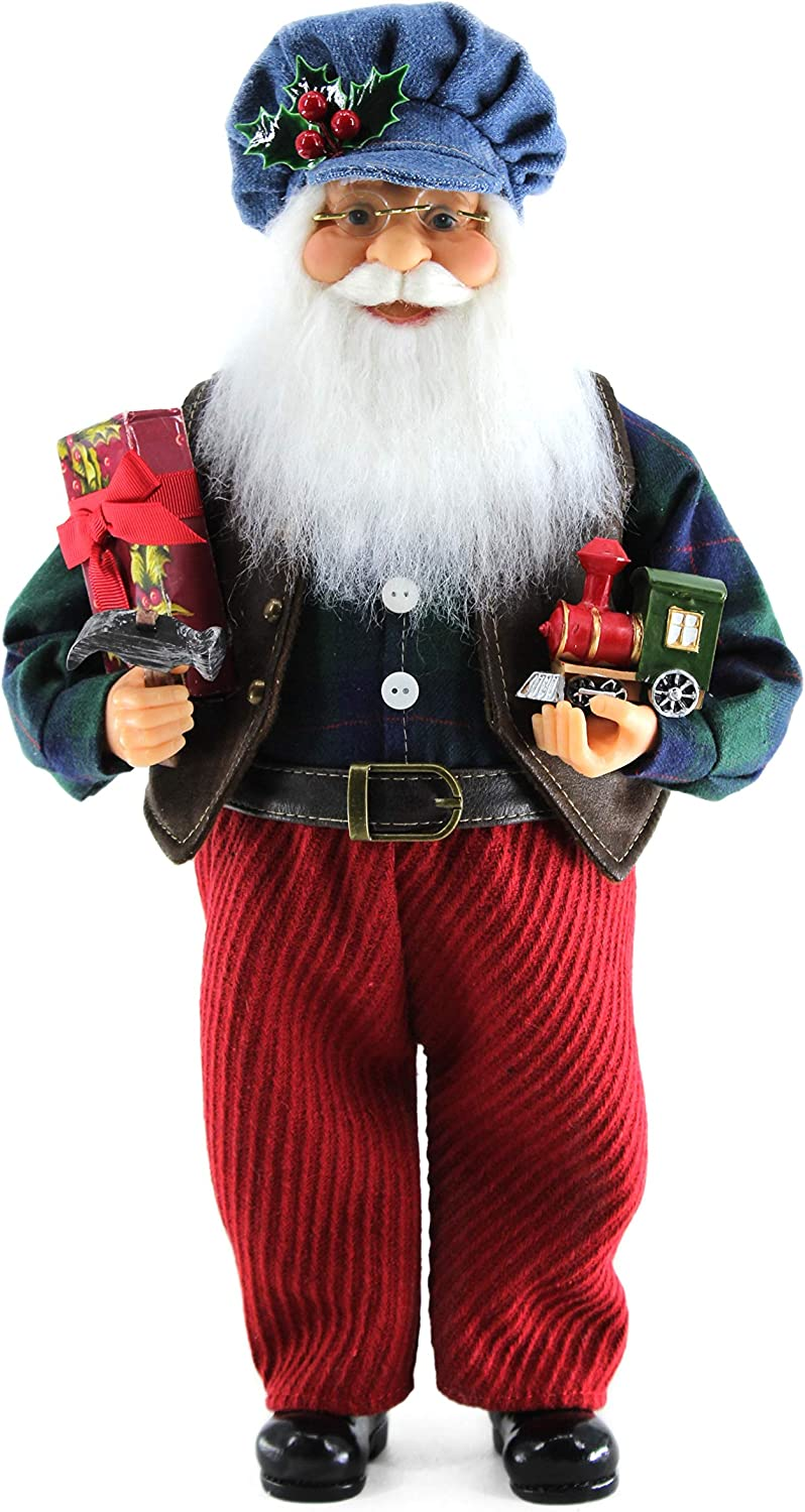 """Hobby, Train, Holly, Hammer & Presents 16"""" inch Santa Claus Standing Figurine Figure Decoration 160007"""