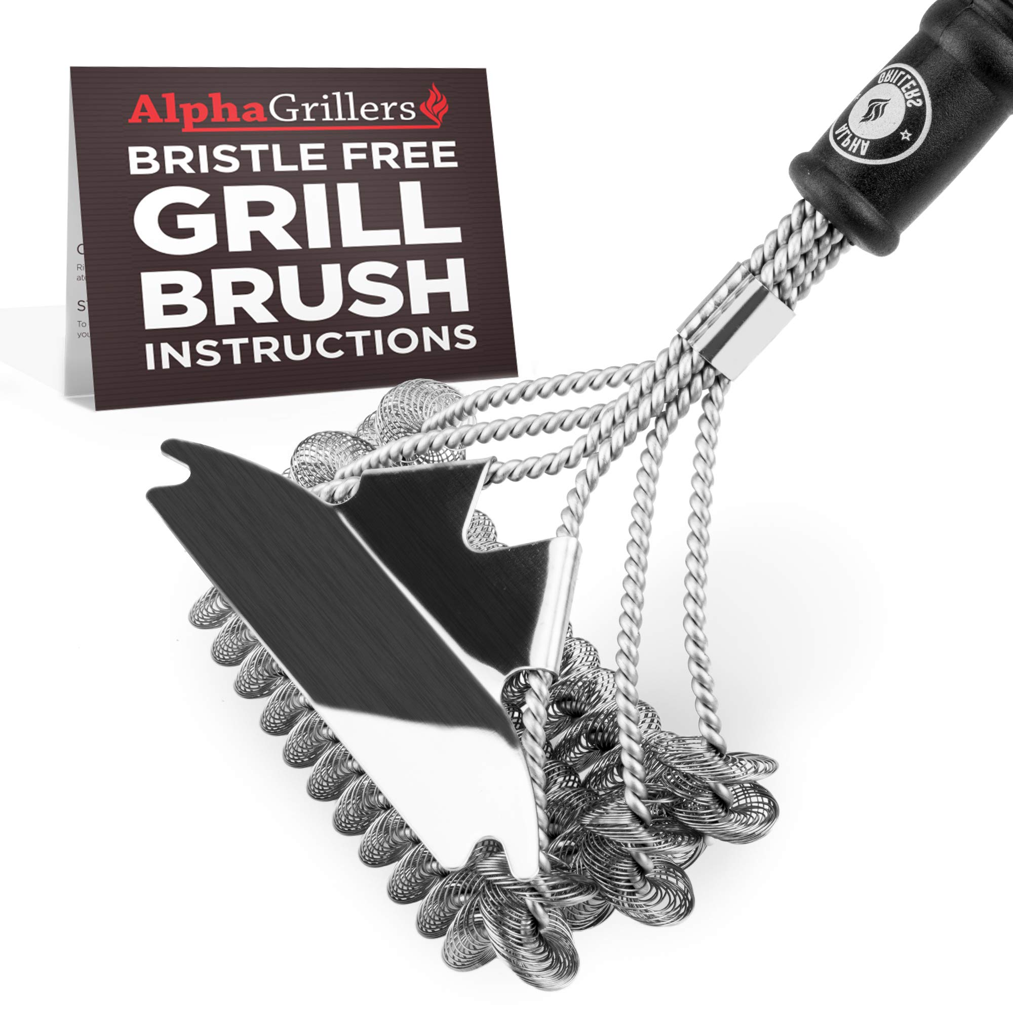 Alpha Grillers Grill Brush Bristle Free. Best Safe BBQ Cleaner with Extra Wide Scraper. Perfect 18 Inch Stainless Steel Tools for All Grill Types, Including Weber. Ideal Barbecue Accessories by Alpha Grillers (Image #8)