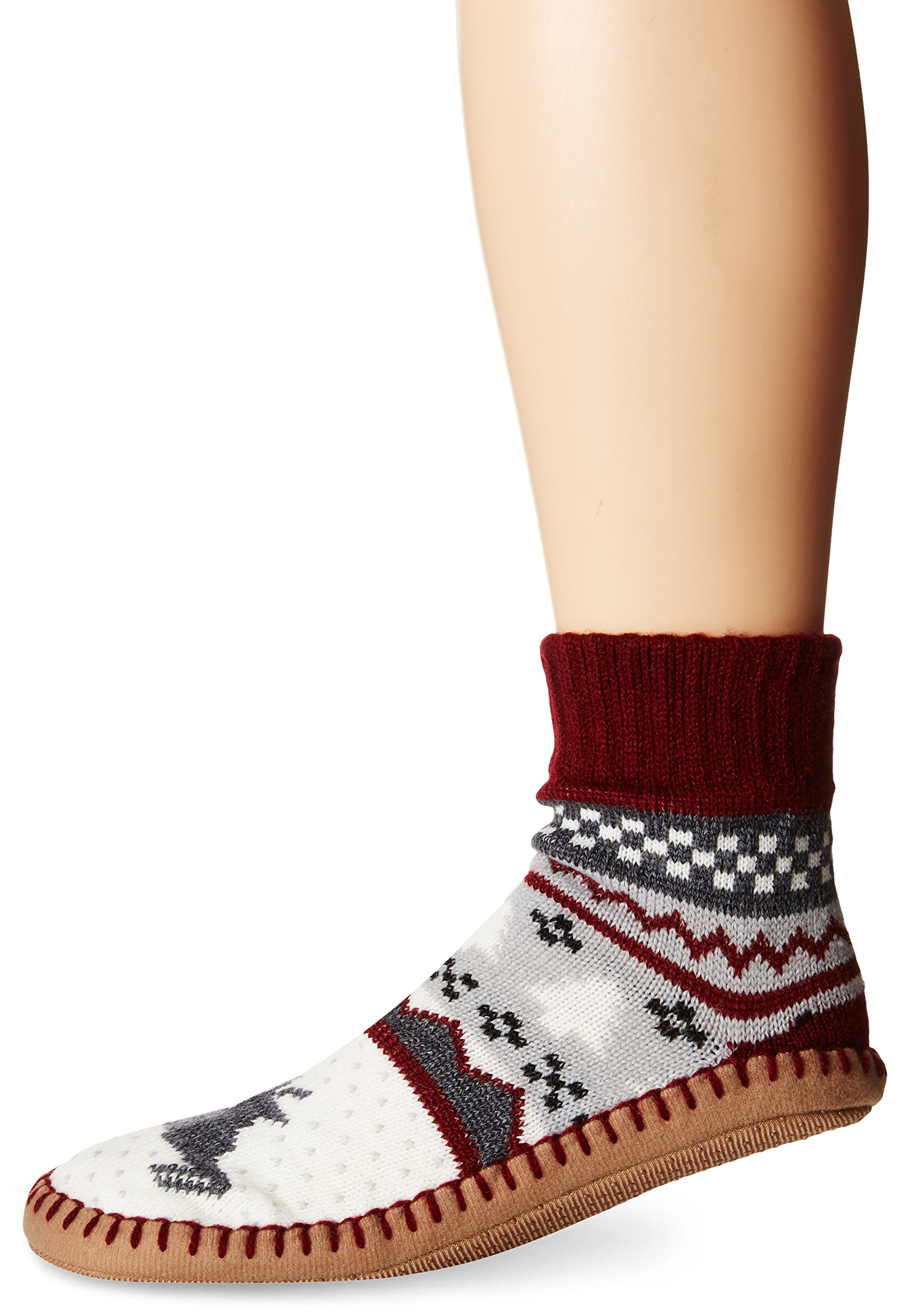 Muk Luks Women's Short Slipper Socks, Chianti XL-Large
