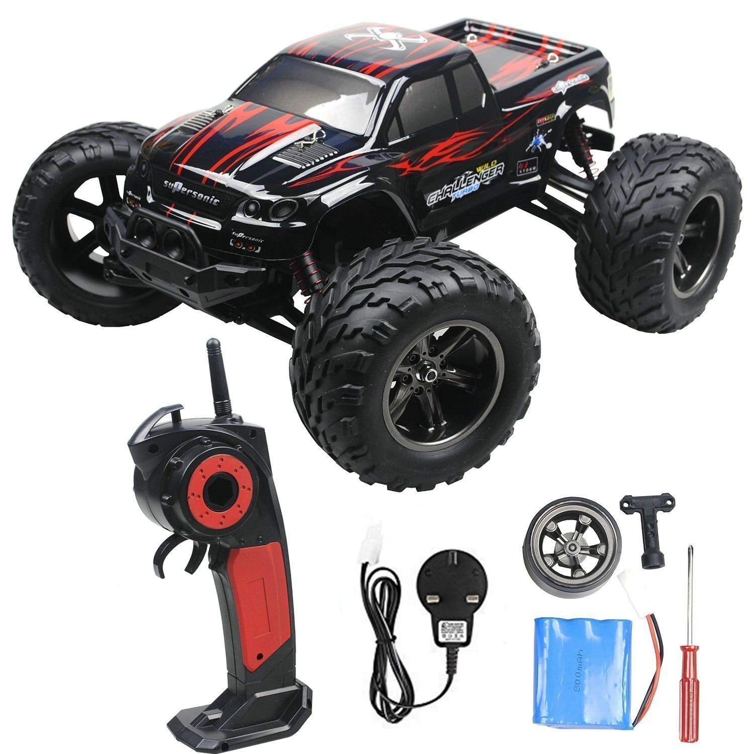 2 4GHz 1 12 Remote Controlled Cars RC Monster Truck Up to 50MPH High Speed and with 100 Meter Control Range Red Updated Amazon Toys & Games