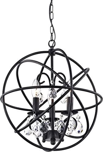 Benita 3-Light Antique Black Metal Globe Crystal Chandelier